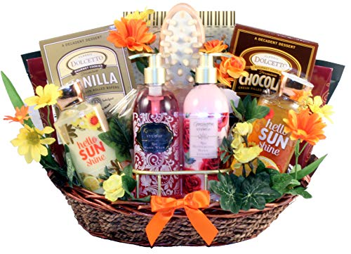 pamper gift baskets Gift Basket Village Garden of Delights, Bath and Body Gift Basket for Women with Luxury Products for Her to Pamper Herself - Great Gift for any Occasion, 9 pound