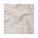 Ambesonne Floral Decorative Napkins Set of 4, Top View and Side View of Rosebuds and Falling Green Leaves on a Plain Background, Satin Fabric for Brunch Dinner Buffet Party, 18' x 18', Multicolor