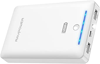 Power Bank RAVPower 16750mAh Portable Charger Ultra-Compact External Battery Pack with 4.5A Max Output Phone Charger Dual USB Ports & Flashlight for iPhone 11 Pro SE Samsung Galaxy S20 Note10 (White)