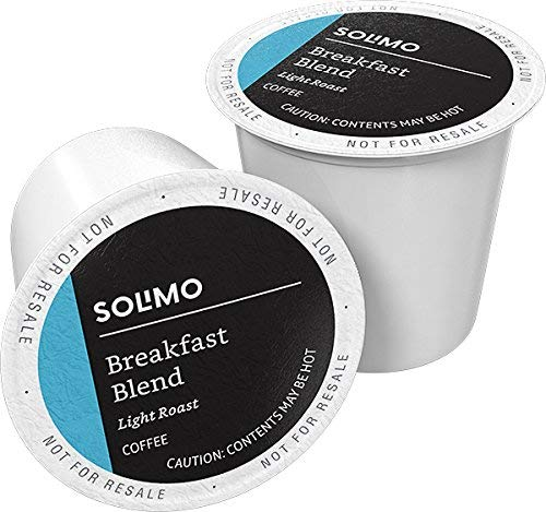 Amazon Brand  100 Ct Solimo Light Roast Coffee Pods Breakfast Blend Compatible with Keurig 20 KCup Brewers