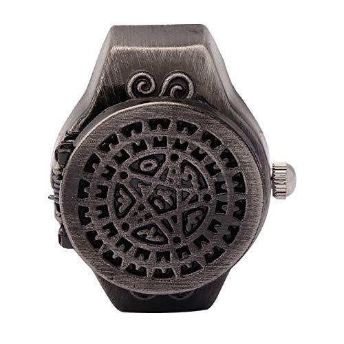 DAUERHAFT Reloj de Anillo de Dedo de 2 Colores, Reloj de Anillo de Cuarzo de Dedo Vintage con Cubierta abatible, Correa de Reloj elástica, Apariencia de Moda, para Hombres(Negro)