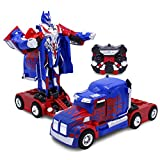 Kids RC Toy Car Transforming Robot One Button Transformation Engine Sound 360 Spinning Speed Drifting 2 Band 2.4 GHz Remote Control RC Vehicle Toys for Boys Blue Truck
