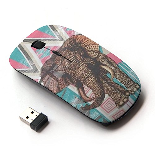 Graphic4You Indian Tribal Elephant Ergonomic Wireless Mouse with Nano Receiver