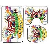3Pcs Alfombra de baño antideslizante Juego de tapa de tapa de asiento de inodoro Decoración de circo Alfombra de baño antideslizante suave Carnaval con un letrero de circo Hojas de circo Plantas Fuego