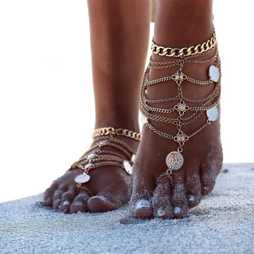 EQLEF Anklets Boho Vintage Golden Coin Blessing Symbol Tassel Foot Chains -1 Pair (Golden)