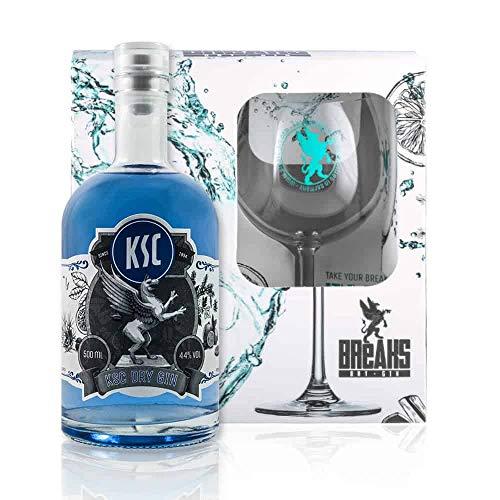 Breaks KSC Gin - Geschenk Set mit Glas + 500 ML KSC Gin - Ausgezeichneter Gin mit Lavendel & frischen Zitronen - Milde Florale Note - Handmade in Karlsruhe