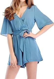 Jojckmen Womens Beach Playsuit Girls V-Neck Chiffon Romper Jumpsuit Summer Outfits