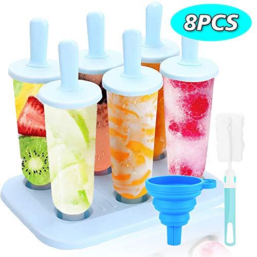 VKAR 6 Eisformen, Popsicle Formen Set, Eisformen EIS am Stiel Silikon mit Reinigungsbürste und Falttrichter, für Kinder und Erwachsene (BPA Freie) …