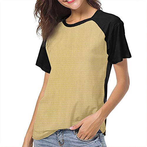 Vintage Yellow Women's Baseball Short Sleeves Breathable Slim-fit Teens