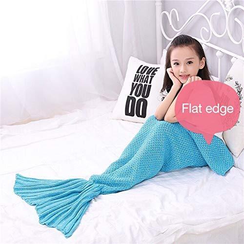 Kinderen Kinderen Kniting Mermaid Tail deken gehaakt blanket sirene slaapbank warm gebreid voor winter lente herfst 140 x 70 cm 95X195CM Donkere Khaki