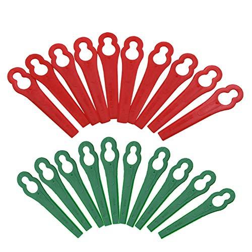 Ersatzmesser Set Rasentrimmer Zubehör 100 Stück Kunststoffmesser für Akku Rasentrimmer Bosch Einhell großen Lochdurchmesser 12 mm kleine Lochdurchmesser 7 mm Rasenmäherklinge (Rot + Grün)