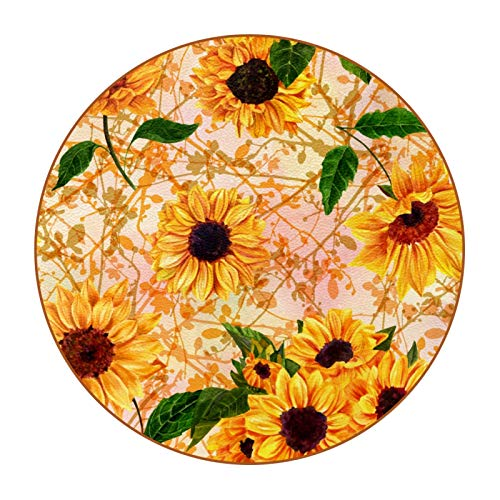 Juego de 6 posavasos de silicona con base antideslizante, multicolor, mesa de cristal, mesa de madera, diseño de girasoles amarillos, hojas verdes