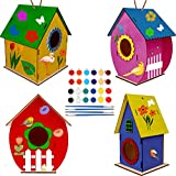 Glintoper Art Craft Wood Toys for Kids, 4 Pack DIY Bird House Kit Painting Puzzle DIY Wooden Assembly, Build and Paint Birdhouse, Include Paints & Brushes, Wooden Arts for Girls Boys Toddlers