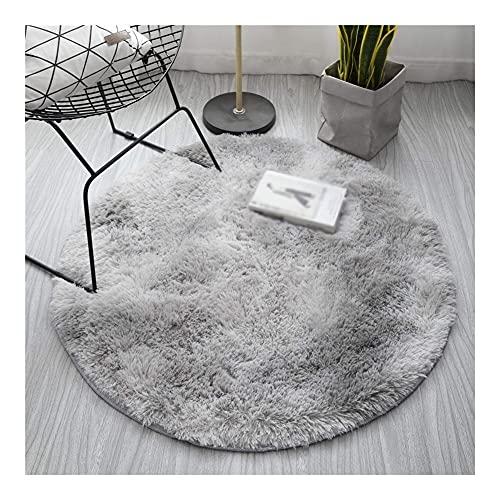 Teppich Runder Teppich für Wohnzimmer Flauschiger Dicker Bett Raum Teppiche Plüsch weiche Anti-Rutsch-Kreis-Boden-Teppiche Krawatten-Färbende Samt-Matte (Color : Color 2, Größe : Diameter 60cm)