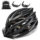 KINGBIKE Ultralight Bike Helmets with Rear Light + Portable Simple Backpack + Two Detachable Visor for Men Women(M/L,L/XL)