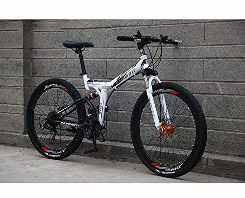 GASLIKE Bicicleta de montaña Plegable para Hombres y Mujeres, Cuadro de Acero con Alto Contenido de Carbono, Bicicletas de MTB de Doble suspensión, Freno de Doble Disco,B,26 Inch 24 Speed