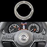 KVLUAY Bling Bling Diamond Steering Wheel Logo Caps Compatible with Nissan,DIY Diamond Sparkly Crystal Emblem Accessories for Women,Fit for Rogue Altima Maxima Sentra Titan Pathfinder(Ring)