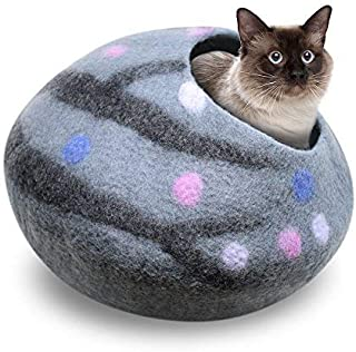 Juccini Handcrafted Felted Wool Cat Cave Bed for Cat and Kittens - Felted from 100% Natural Wool