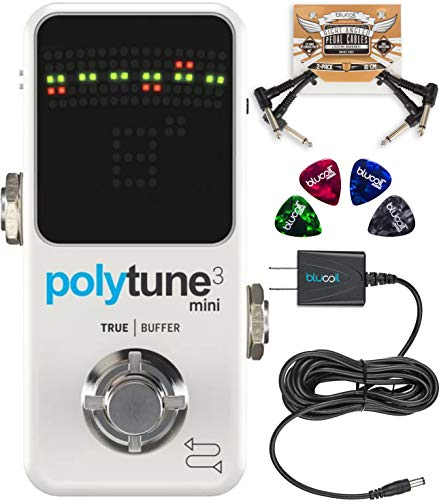TC Electronic PolyTune 3 Mini Polyphonic Tuner Pedal with BonaFide Buffer Bundle with Blucoil Slim 9V Power Supply AC Adapter, 2-Pack of Pedal Patch Cables, and 4-Pack of Celluloid Guitar Picks