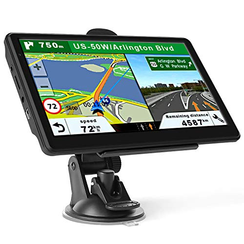 GPS Navigation for Car Truck, Latest Map Touchscreen 7 Inch 8G 256M Navigation System with Voice Guidance and Speed ​​Camera Warning, Lifetime Free Map Update