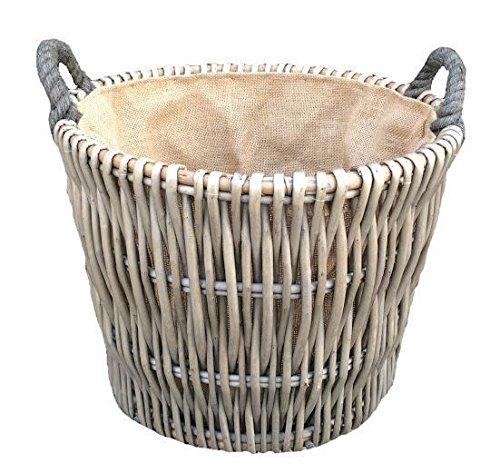 Red Hamper Willow Small Round Grey Log Basket Wicker Log Basket