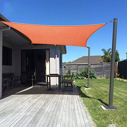 Dripex Sonnensegel Sonnenschutz Set inkl Befestigungsseile Rechteckig Wasserabweisend Polyester Imprägniert 95% UV Schutz Windschutz Wetterschutz 3X5 m für Balkon Garten Terrasse Orange