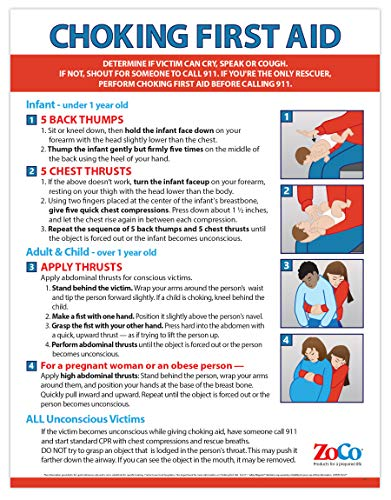 First Aid Choking Poster - Choking Poster Laminated - Choking Victim Poster - Heimlich Maneuver Poster - First Aid Poster for Babies, Children, and Adults - 17 x 22