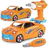 REMOKING Auto Spielzeug für Kinder, Montage Fahrzeuge Spielzeug mit Drill Werkzeug & Ton & Licht, Elektrisches Auto Rollenspiel Spielfahrzeug Set, STEAM Pädagogisches Geschenk