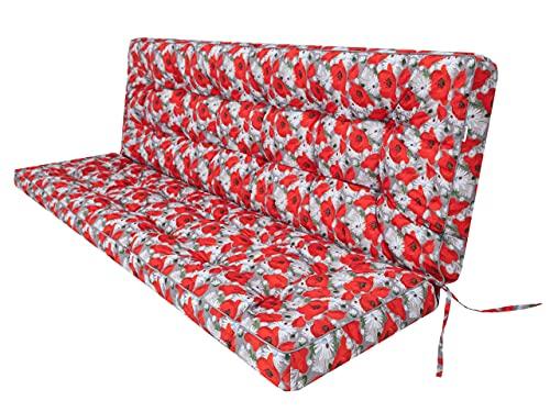 Cojín de asiento para banco de jardín, columpio, cojín de suelo, cojín para balancín, para columpio de jardín, exterior e interior, 120 cm, diseño de amapolas