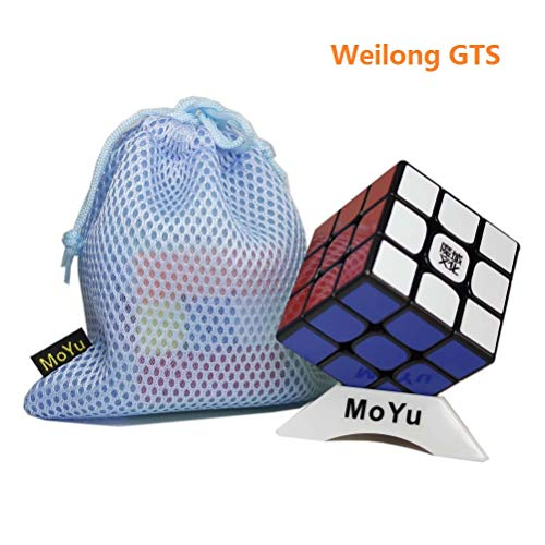 OJIN MoYu WEILONG GTS 3x3x3 Speed Cube Puzzle Sticker Rompicapo Twist Puzzle Toys con una Borsa Cubo e un Cubo treppiede (Black)