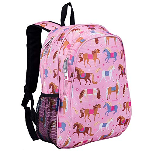 Wildkin Kids 15 Inch Specialty Backpack for Boys and Girls, Perfect Size for Preschool, Kindergarten and Elementary School, 600-Denier Polyester Fabric Backpacks, Olive Kids (Horses)