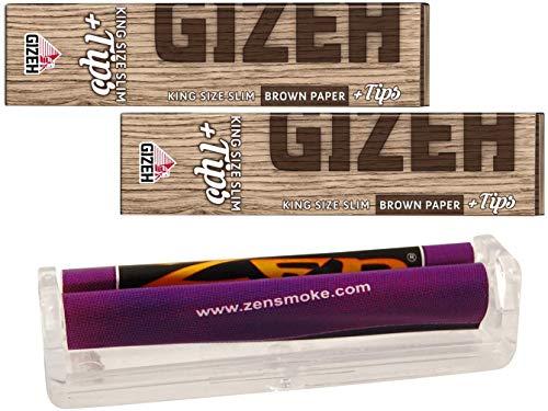 yaoviz® Set 3tlg.: ZEN konische Joint Drehmaschine 110mm - 2x GIZEH brown KS Slim Papers inkl. Tips