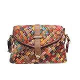 Segater® Mehrfarbig Floral Rind Leder-Umhängetasche für Damen, Vintage Rindsleder Handtasche...