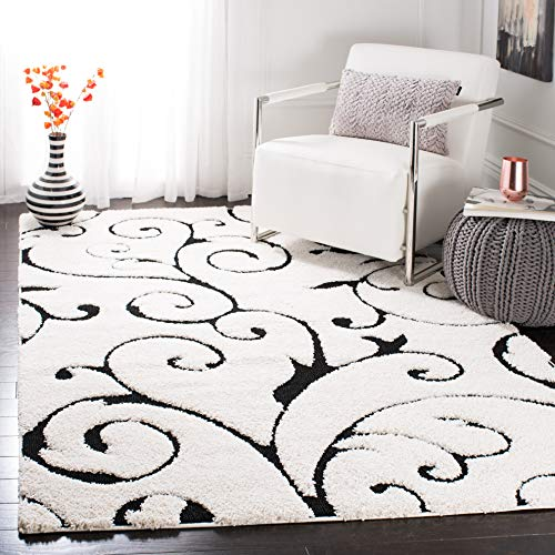 Safavieh Florida Shag Collection SG455-1290 Ivory and Black (9'6' x 13') Area Rug