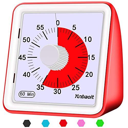 Yunbaoit Minuteur analogique visuel, Silencieux Compte à rebours, Outil de Gestion du Temps pour Enfants et Adultes(Red)