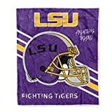 Flannel Throw Blanket University Logo Print Warm Blankets Super Soft 50'' × 60'' (LSU Tigers)
