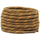 DELELE 2 Pair Non-slip Outdoor Mountaineering Hiking Walking Shoelaces Round Light Brown Golden String Rope Boot Laces Strong Durable Bootlaces-47.24'
