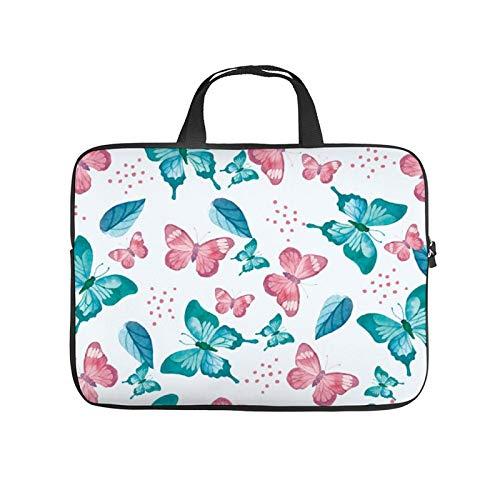 13inch Laptop Shoulder Messenger Bag, Laptop Case, Butterflies Pattern Aqua Leaf Turquoise Pink Teal Design Plant, Laptop Shoulder Bag, Messenger Bag Case, Business/Office/Work Bag