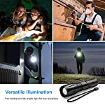 Flashlights, LED Tactical Flashlight S1000 - High Lumen, 5 Modes, Zoomable, Water Resistant, Handheld Light - Best… 13 Super lighting: S1000 High lumen flashlight LED bulb provides bright light, easily light up an entire room or focus in on objects up to 1000 feet away! Conveniently takes 3 standard AAA batteries or 1x18650 rechargeable button top Li-ion battery. (Batteries are not included. ) 5 modes: fit in your pocket, backpack, or purse allowing, survival bag, or car glove compartment for easy storage and quick access. Focus in or zoom out to sweep a large area. 5 settings replace the need for multiple flashlights: (high medium low strobe SOS) makes for a practical addition to any household or emergency kit. Adjustable focus our flashlights utilize the latest durable CREE XML T6 LED chip, provides super bright light beam. Easy-controlled head-pulling zoom and easy mode-switch by light taps of button. Adjustable focus for use in different situations (just rotate torch head to adjust zoom)