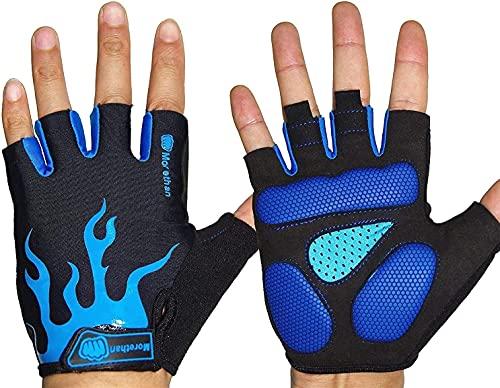 MORETHAN Halbfinger-Fahrradhandschuhe für Männer Frauen, Fingerlose Mountainbike-Handschuhe mit Silikongel-Pad (Blau, M)