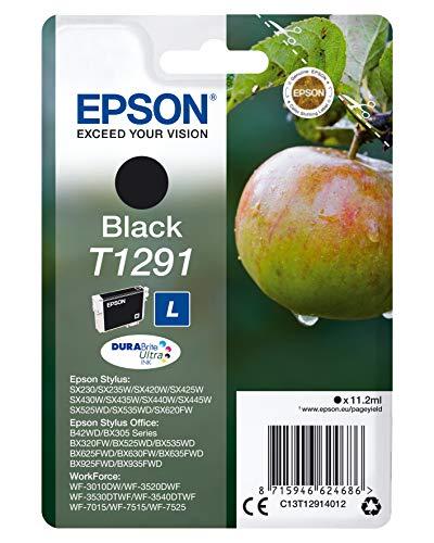 Epson T1291 Pomme Noir, Cartouche d'encre d'origine, WF-3010DW WF-3520DWF WF-3530DTWF WF-3540DTWF WF-7015 WF-7515 WF-7525 BX305F BX310FN BX320FW BX525WD BX535WD BX625FWD BX635FWD BX925FWD BX935FWD
