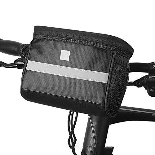 UYTTlhk Bolsa de manillar de bicicleta, Bolsa de marco de bicicleta sin herramientas de gran capacidad, soporte de tela táctil Correa reflectante Cesta de bicicletas, para scooter de carretera Ocomita