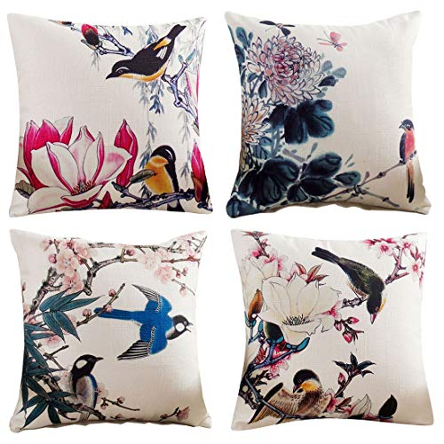 HengST Throw Pillow Covers Set of 4 Decorative Cushions Covers Printed Pillowcases Oriental Vintage Flowers and Birds Cushion Covers Home Decoration for Sofa Couch Bed Chair 18 x 18 inch #1