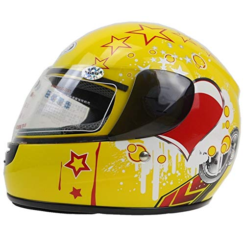 3-12 Años Casco Delantero De Moto For Niños Lleno De Casco De Moto 6 Colores Disponibles Talla 48-52 Cm Casco De Moto For Uso En Todas Las Estaciones Proteger (Color : Yellow, Size : M.)