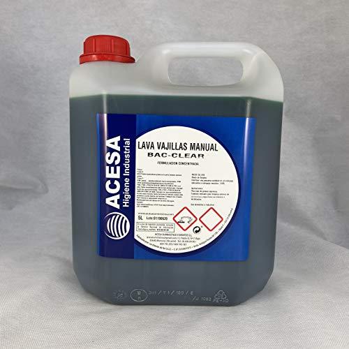 Lavavajillas Manual Concentrado para uso Profesional y Doméstico. Alto poder desengrasante. NO deja residuos y Facilita el Aclarado en aguas de extrema dureza ACESA Formato industrial 5 litros.