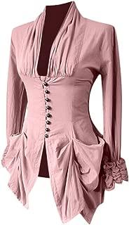Women Long Sleeve Retro Lace Trim Button Up Vintage Irregular Tailcoat Outwear