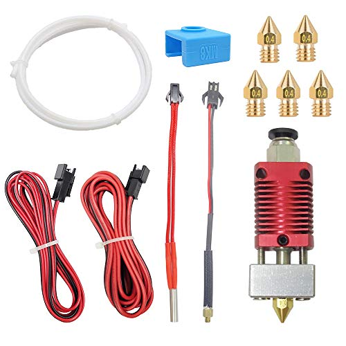 SOOWAY Ender 3/3 Pro Hotend Extruder Part With Upgraded Thermistor For 1.75 mm 3D Printer + 5 pcs Brass nozzle + MK8 Silicone Sock