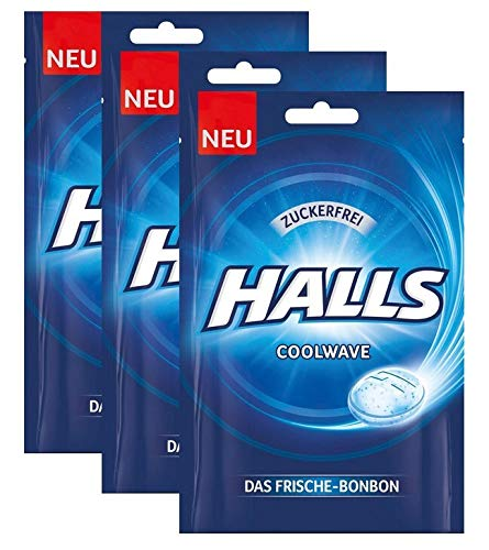 Halls Bonbons Cool Wave zuckerfrei , 3er Pack (3x65g)
