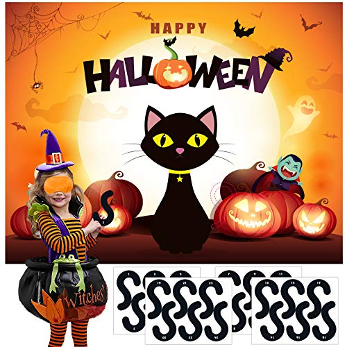 MISS FANTASY Halloween Games for Kids Pin the tail on The Cat Games Halloween Party Games Activities Halloween Pin The Cat Games for Kids Party