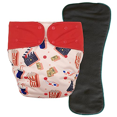 Cloth Diaper Cover - Reusable Incontinence Protective Briefs with Snap-in Insert for Special Needs Big Kids, 10-15 Years (Movie Night, Youth)